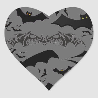 Halloween Bats Heart Sticker