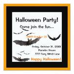 "Halloween Bats Invitation 5.25"" Square Invitation Card"