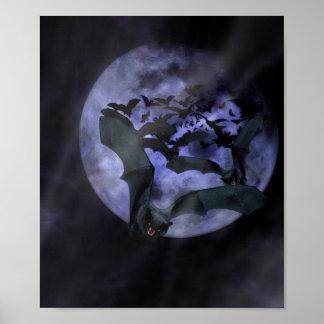 Halloween Bats on a Full Moon Night Posters