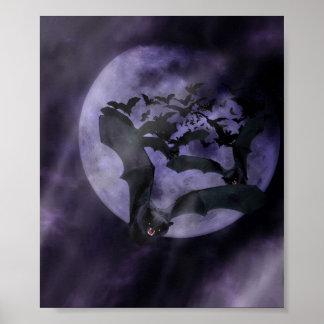 Halloween Bats on a Full Moon Night Poster