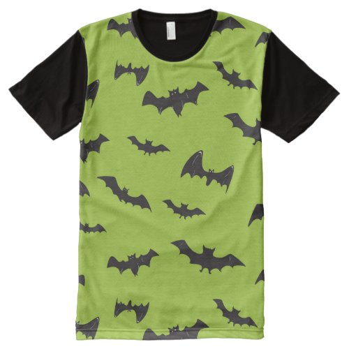 Halloween Bats on Lime Green All-Over-Print T-Shirt Sales