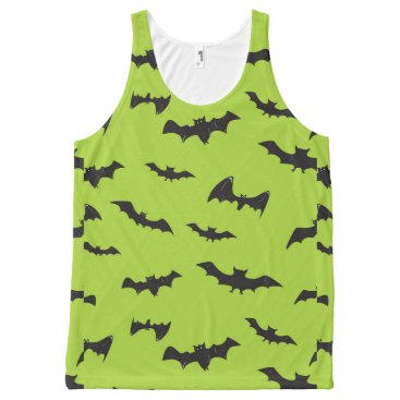 Halloween Themed Halloween Bats on Lime Green All-Over-Print Tank Top