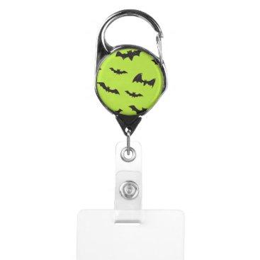 Halloween Themed Halloween Bats on Lime Green Badge Holder
