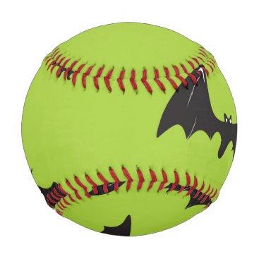 Halloween Themed Halloween Bats on Lime Green Baseball
