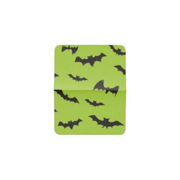 Halloween Themed Halloween Bats on Lime Green Business Card Holder