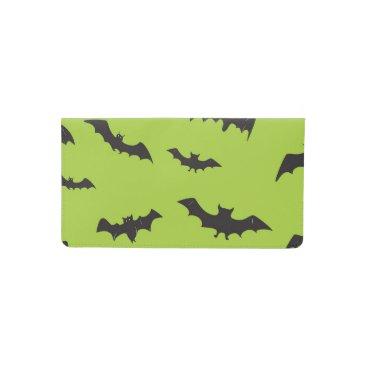 Halloween Themed Halloween Bats on Lime Green Checkbook Cover