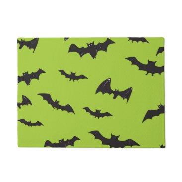 Halloween Themed Halloween Bats on Lime Green Doormat