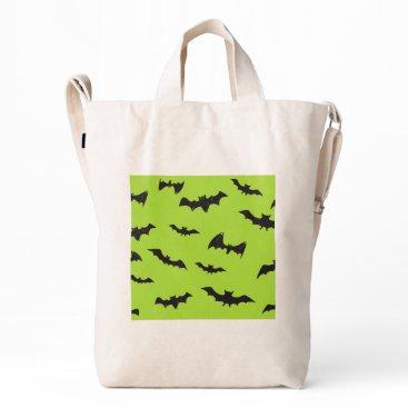 Halloween Themed Halloween Bats on Lime Green Duck Bag