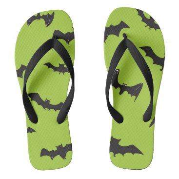 Halloween Themed Halloween Bats on Lime Green Flip Flops