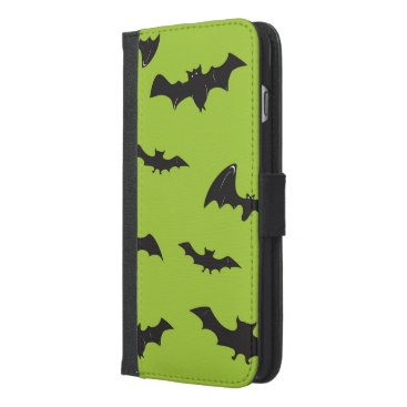 Halloween Themed Halloween Bats on Lime Green iPhone 6/6s Plus Wallet Case