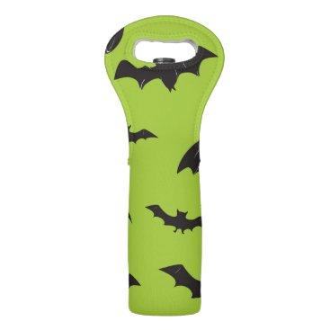 Halloween Themed Halloween Bats on Lime Green Wine Bag