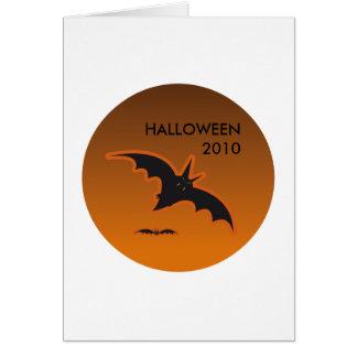 HALLOWEEN BATS ORANGE GREETING CARD