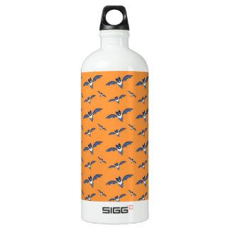 Halloween Bats orange pattern Water Bottle