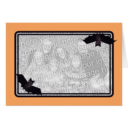 Halloween Bats Orange Photo Frame Card