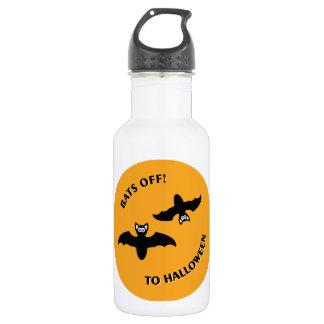 Halloween Bats Orange Stainless Steel Water Bottle