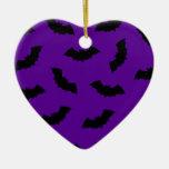 Halloween Bats Double-Sided Heart Ceramic Christmas Ornament