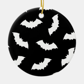 Halloween Bats Double-Sided Ceramic Round Christmas Ornament