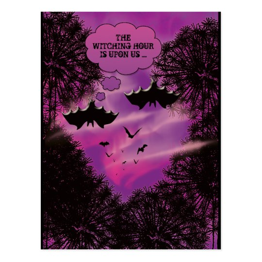 Halloween bats pink black fun postcard