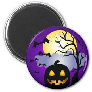 Halloween bats pumpkin round magnet