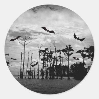 Halloween Bats - Spooky Scene Round Sticker