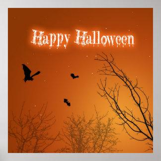 Halloween Bats & Trees - Poster