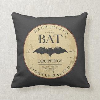 Halloween Bats Vintage Label Throw Pillow