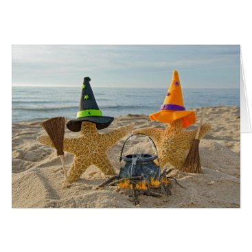 Beach Themed Halloween Beach Stars Card