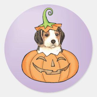 Halloween Beagle Classic Round Sticker