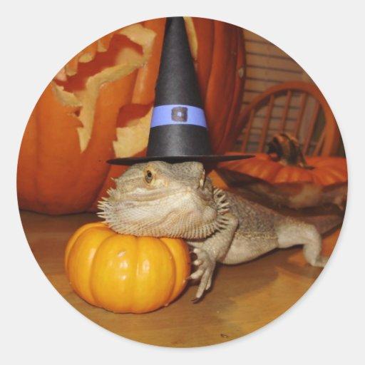 Halloween Beardie Pegatina Redonda