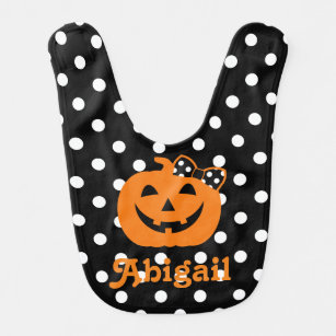 halloween bib pumpkin personalize bib baby girl
