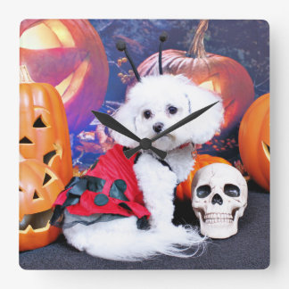 Halloween - Bichon Frise - Mia Wallclocks