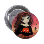 Halloween Big Eye Girl with Pumpkin Button