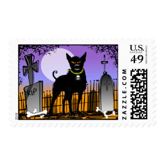 Halloween Big Scary Dog in Cemetery Postage
