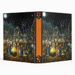 Halloween binder, witches around cauldron