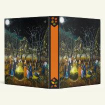 Halloween binder, witches around cauldron binder