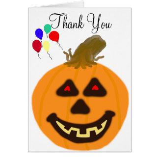 Halloween Birthday Balloons Thank You Card