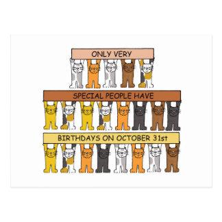 Halloween Birthday Cats Postcard