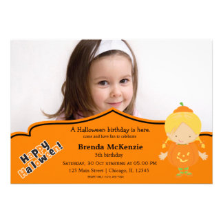 Halloween birthday costume custom invites