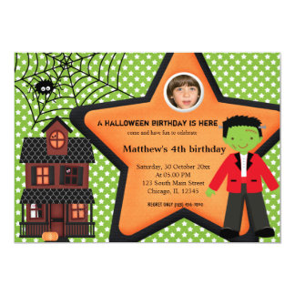 Halloween Birthday Costume (Green) Card