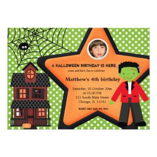 Halloween Birthday Costume (Green) Personalized Invitations