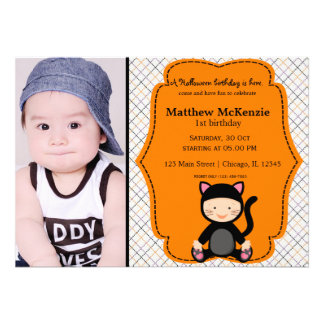 Halloween birthday costume personalized announcements
