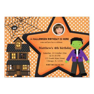 Halloween Birthday Costume (Orange) Personalized Announcement