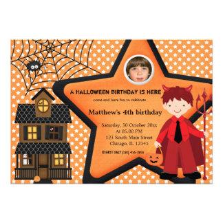 Halloween Birthday Costume (Orange) Custom Announcements