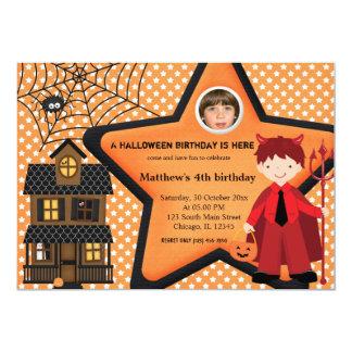 Halloween Birthday Costume (Orange) 5x7 Paper Invitation Card