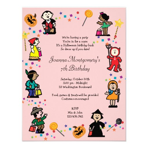Personalized Girls costume birthday party Invitations – Costume Party Invitations
