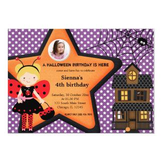 "Halloween Birthday Costume (Purple) 5"" X 7"" Invitation Card"
