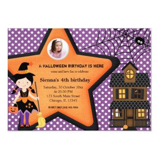Halloween Birthday Costume (Purple) Invitations