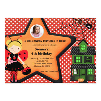 Halloween Birthday Costume (Red) 5x7 Paper Invitation Card
