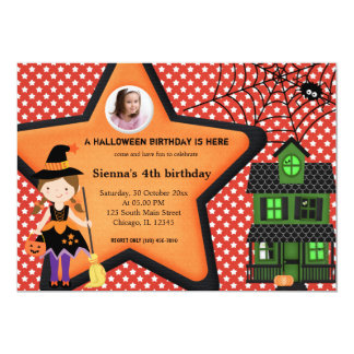 "Halloween Birthday Costume (Red) 5"" X 7"" Invitation Card"