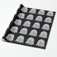 Halloween Birthday Ghosts Cute Custom Name Black Wrapping Paper